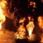 СЭС: уровень загрязнения воздуха в районе пожара на нефтебазе в норме